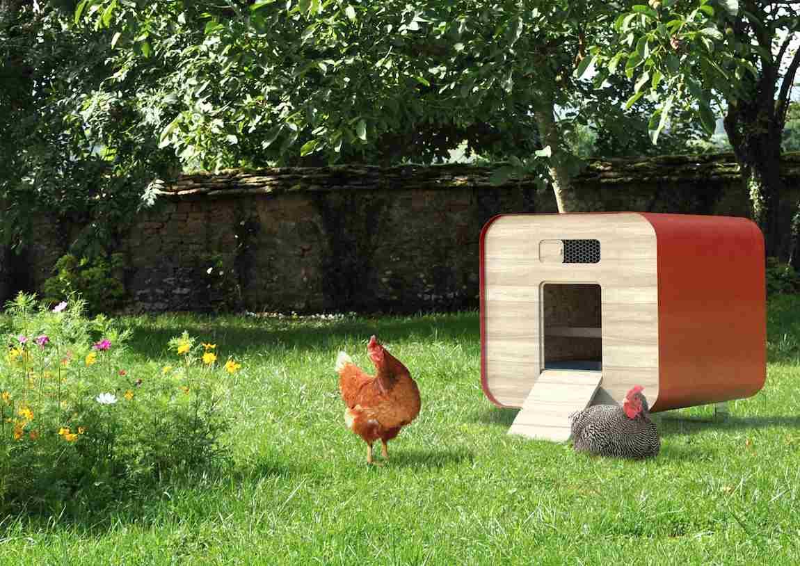 Poulailler Container rouge de Farmili et de la ferme urbaine