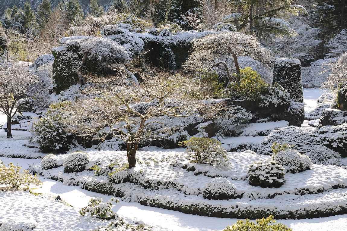 Les jardins en hiver de Sunken au Canada