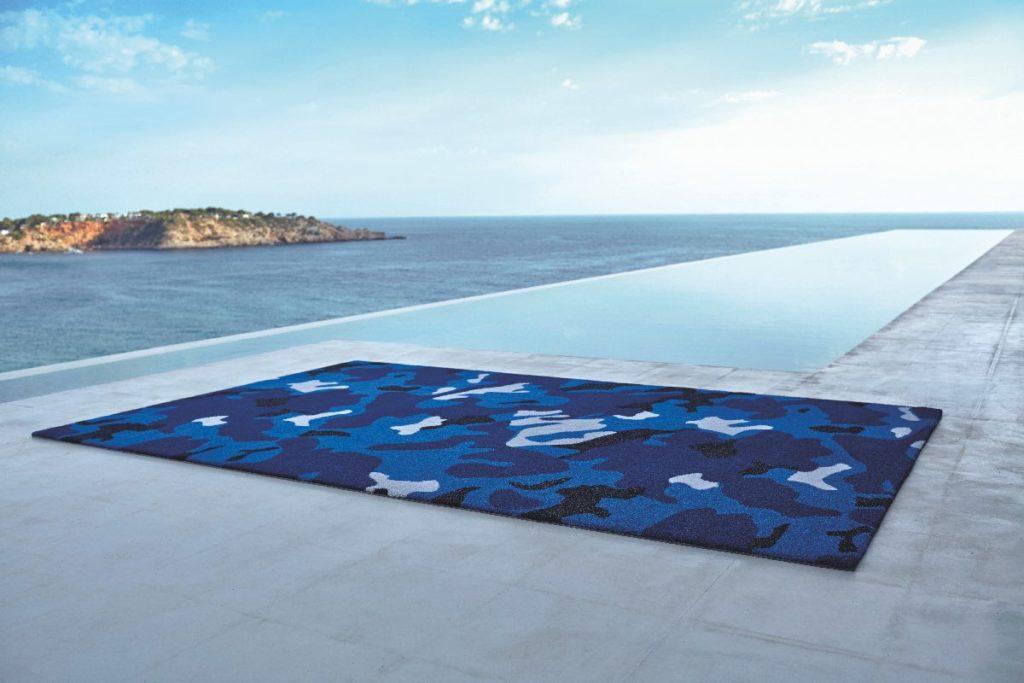 tapis outdoor camouflage bleu