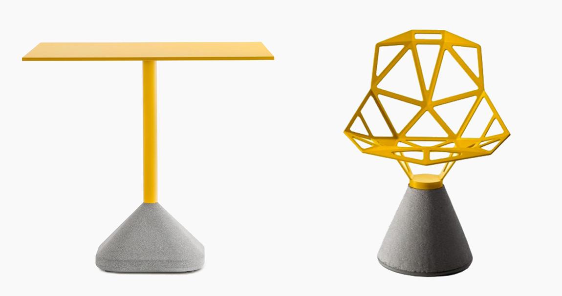 Table et chaise jaune et béton