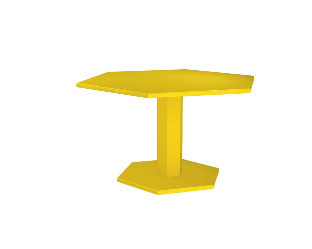 table hexagone jaune